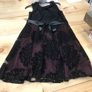 SL Fashions Dresses - S.L.Fashion Tea Length TuckNeck Fit Flare,blk/burg